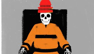 Illustration on the death penalty by Linas Garsys/The Washington Times