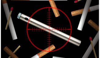Illustration on the targeting of e-cigarettes by Alexander Hunter/The Washington Times