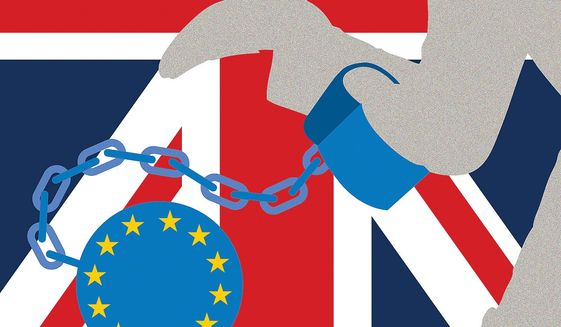 Illustration on Brexit by Linas Garsys/The Washington Times