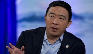 Democratic presidential candidate entrepreneur Andrew Yang speaks during the Climate Forum at Georgetown University, Thursday, Sept. 19, 2019, in Washington. (AP Photo/Jose Luis Magana) ** FILE **