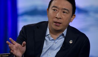 Democratic presidential candidate entrepreneur Andrew Yang speaks during the Climate Forum at Georgetown University, Thursday, Sept. 19, 2019, in Washington. (AP Photo/Jose Luis Magana)