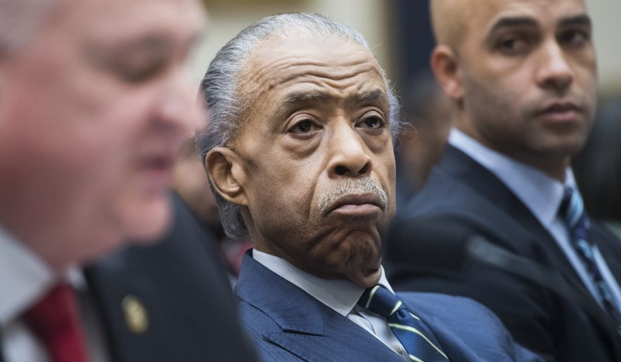 """(From right): James Blake, a former professional tennis player, the Rev. Al Sharpton and Patrick Yoes, national president of the Fraternal Order of Police, testify during the House Judiciary Committee hearing titled """"Oversight Hearing on Policing Practices,"""" in Rayburn Building on Thursday, Sept. 19, 2019. (Photo By Tom Williams/CQ Roll Call via AP Images) ** FILE **"""