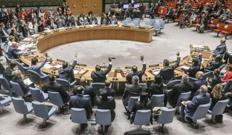 United Nations Security Council vote on a humanitarian draft resolution for Syria, which fail to gain the support of Russia and China, Thursday, Sept. 19, 2019, at U.N. headquarters. (AP Photo/Bebeto Matthews)