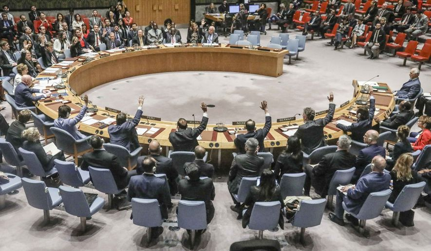 United Nations Security Council vote on a humanitarian draft resolution for Syria, which fail to gain the support of Russia and China, Thursday, Sept. 19, 2019, at U.N. headquarters. (AP Photo/Bebeto Matthews) ** FILE **