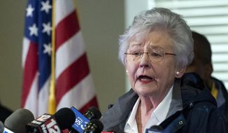 In this March 4, 2019, file photo, Alabama Gov. Kay Ivey speaks at a news conference in Beauregard, Ala. Ms. Ivey announced on Sept. 19 that she is undergoing treatment for cancer. (AP Photo/Vasha Hunt, File) **FILE**