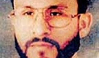 """This undated file photo provided by U.S. Central Command, shows Abu Zubaydah, date and location unknown. A federal appeals court hearing the case of a Guantanamo Bay inmate who was subjected to brutal treatment by the CIA after being detained following the 9/11 attacks took the rare step of calling """"enhanced interrogation techniques"""" torture. The 9th U.S. Court of Appeals in San Francisco said in a ruling Wednesday, Sept. 18, 2019, allowing Abu Zubaydah's lawyers to question two former CIA contractors that the Palestinian man """"was tortured."""" (U.S. Central Command via AP, File)"""