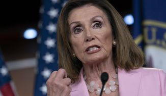 Speaker of the House Nancy Pelosi, D-Calif., meets with reporters just after the House Judiciary Committee approved guidelines for impeachment hearings on President Donald Trump, at the Capitol in Washington, Thursday, Sept. 12, 2019. (AP Photo/J. Scott Applewhite) ** FILE **
