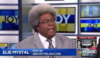 "Above the Law Executive Editor Elie Mystal appears on MSNBC's ""AM Joy"" on Aug. 11, 2019. (MSNBC)"