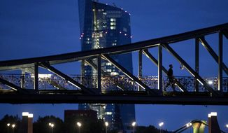 A man walks over a bridge with the European Central Bank in background in Frankfurt, Germany, Tuesday, Sept. 17, 2019. (AP Photo/Michael Probst)