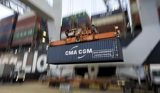 CMA CGM Group, an international shipping company based in France with a location in Norfolk, has secured an expanded contract with Virginia to bring 400 new jobs to Northern Virginia and Hampton Roads. (AP Photo/Stephen B. Morton, File)