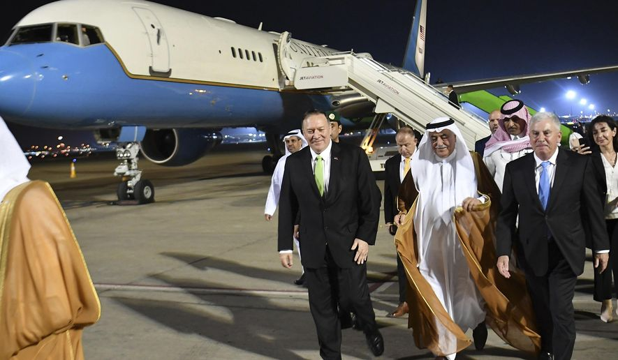 Secretary of State Mike Pompeo walks after stepping off his plane upon arrival at King Abdulaziz International Airport in Jeddah, Saudi Arabia, Wednesday, Sept. 18, 2019. (Mandel Ngan/Pool via AP)