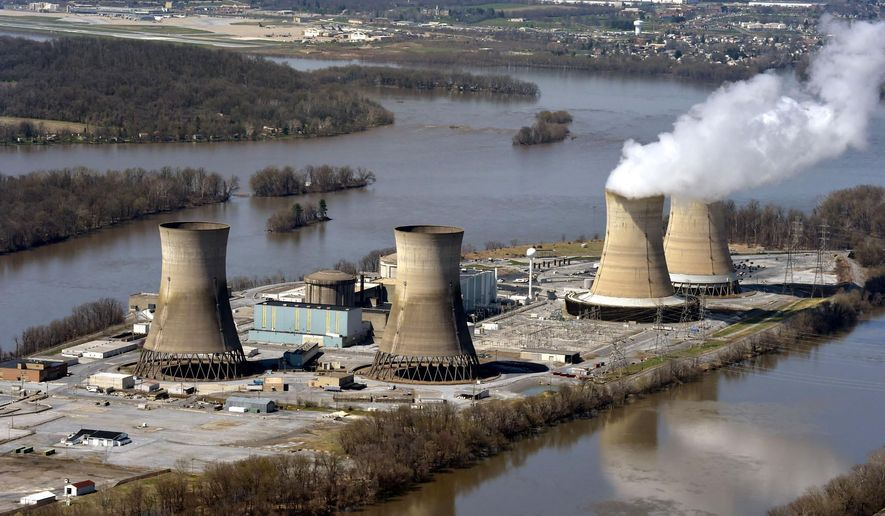 This April 18, 2018, file photo shows an aerial view of Three Mile Island, in Dauphin County, Pa. The shutdown of Three Mile Island, site of the United States' worst commercial nuclear power accident, is imminent. Exelon Corp. officials said the plant will stop producing electricity Friday, Sept. 20, 2019, following through on a decision the Chicago-based energy giant made in May after it became clear that it would not get a financial rescue from Pennsylvania.  (Richard Hertzler/LNP/LancasterOnline via AP, File) **FILE**