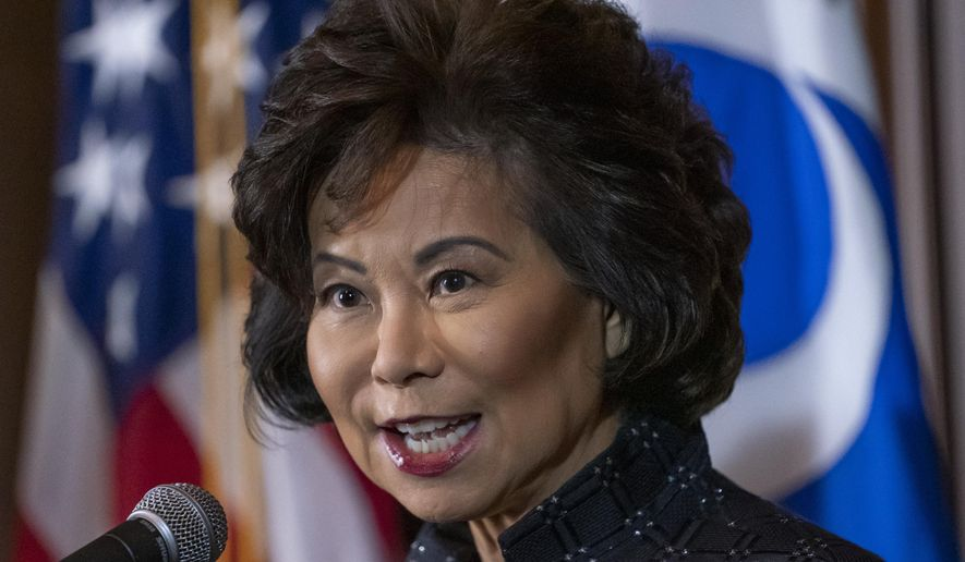 Transportation Secretary Elaine Chao speaks to reporters about President Donald Trump's decision to revoke California's authority to set auto mileage standards stricter than those issued by federal regulators, at EPA headquarters in Washington, Wednesday, Sept. 18, 2019.  (AP Photo/J. Scott Applewhite) ** FILE **
