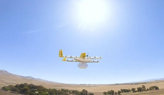 This undated image made from video provided in September 2019 by Wing, a member of the Alphabet family of companies, shows a delivery drone test which is part of a partnership with Walgreens. On Thursday, Sept. 19, 2019, Walgreens and the Google affiliate said they are testing drone deliveries that can put drugstore products on customer doorsteps minutes after being ordered. (Wing via AP)