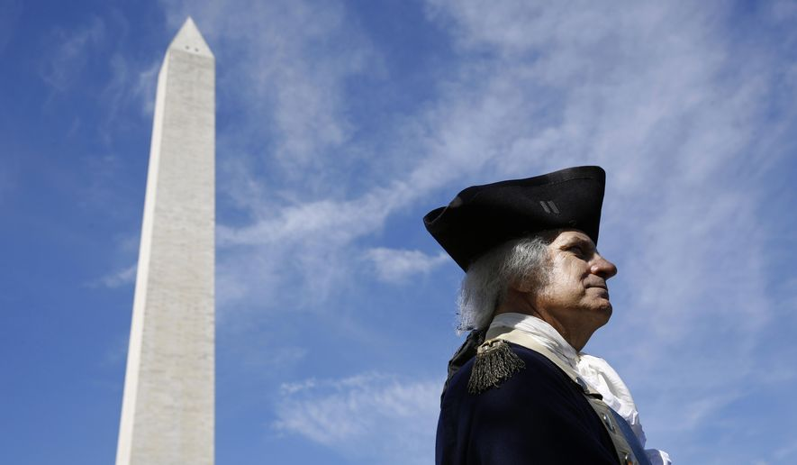 John Lopes, playing the part of President George Washington, stands near the Washington Monument following a ribbon-cutting ceremony with first lady Melania Trump to re-open the monument, Thursday, Sept. 19, 2019, in Washington. The monument has been closed to the public for renovations since August 2016. (AP Photo/Patrick Semansky)