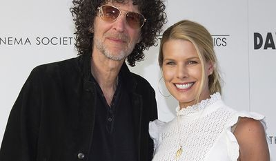 """HOWARD STERN AND BETH OSTROSKY                                                         Howard Stern, left, and Beth Ostrosky Stern attend a special screening of """"David Crosby: Remember My Name"""", hosted by Sony Pictures Classics with The Cinema Society, at the Regal UA East Hampton Cinema on Saturday, July 13, 2019 in East Hampton, NY. (Photo by Scott Roth/Invision/AP)"""