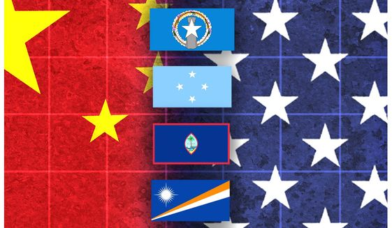 Illustration on American versus Chinese influence in the Pacific by Alexander Hunter/The Washington Times