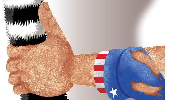 Illustration on the future of U. S. involvement in Afghanistan by Alexander Hunter/The Washington Times