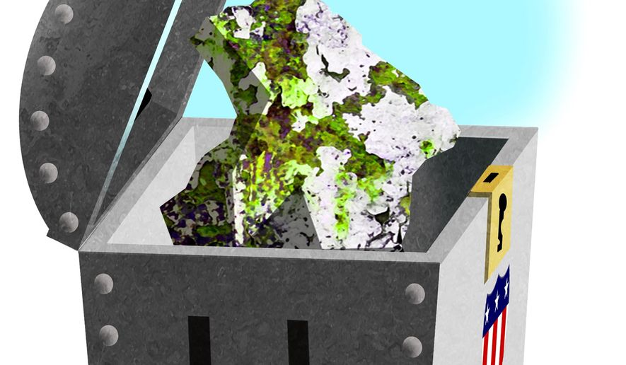 Illustration on the U.S. uranium supply by Alexander Hunter/The Washington Times