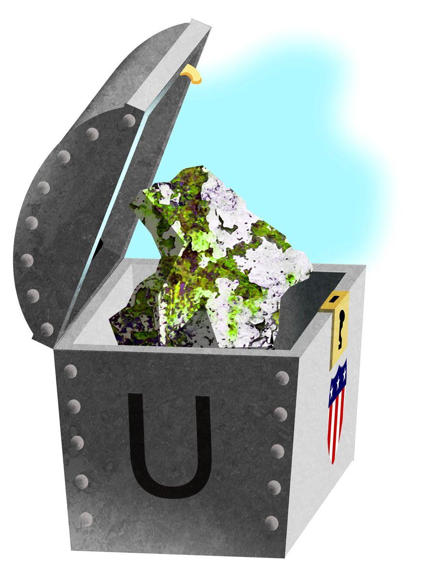 Illustration on the U.S. uranium supply by Alexander Hunter/The Washington Times