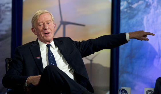 Republican presidential candidate and former Massachusetts Gov. Bill Weld speaks during the Climate Forum at Georgetown University, Friday, Sept. 20, 2019, in Washington. (AP Photo/Jose Luis Magana)