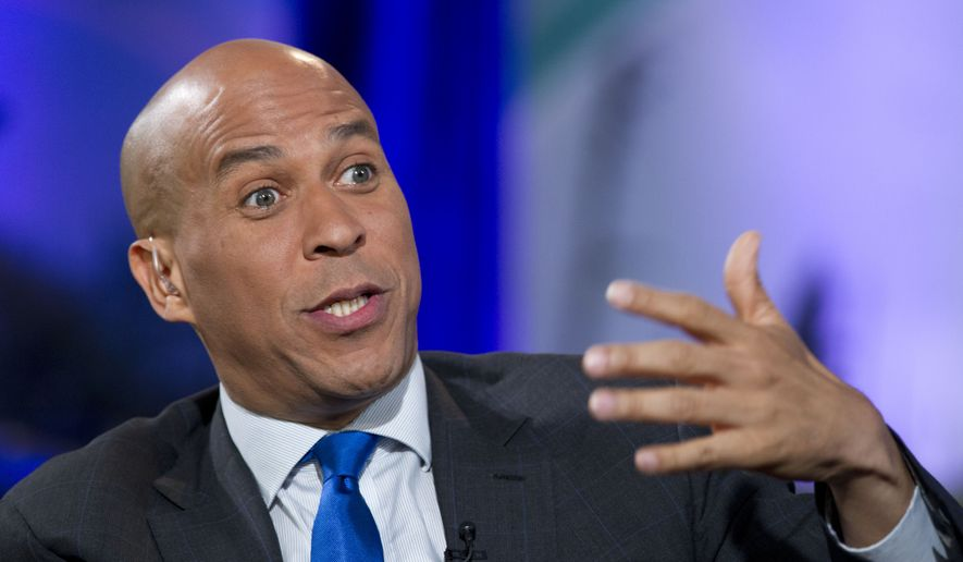 Democratic presidential candidate Sen. Cory Booker, D-N.J., speaks during the Climate Forum at Georgetown University, Friday, Sept. 20, 2019, in Washington. (AP Photo/Jose Luis Magana)