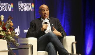 Democratic presidential candidate Cory Booker, D-N.J., responds to a question from Zach Stafford, Editor-in-Chief of The Advocate, during the LGBTQ Presidential Forum at Sinclair Auditorium on the Coe College campus in Cedar Rapids, Iowa, on Friday, Sept. 20, 2019. (Liz Martin/The Gazette via AP) ** FILE **