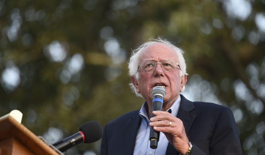 Democratic presidential contender U.S. Sen. Bernie Sanders, from Vermont, addresses a crowd at Winthrop University as part of his college campus tour, Friday, Sept. 20, 2019, in Rock Hill, S.C. (AP Photo/Meg Kinnard)