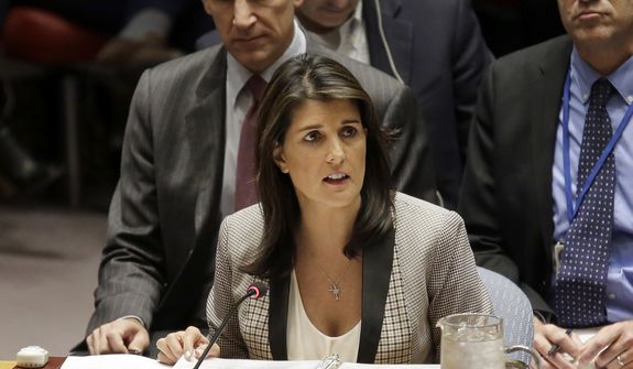 In this Monday, Nov. 26, 2018, file photo, United States Ambassador to the United Nations Nikki Haley speaks during a security council meeting about the escalating tensions between the Ukraine and Russia at United Nations headquarters. (AP Photo/Seth Wenig, File) ** FILE **