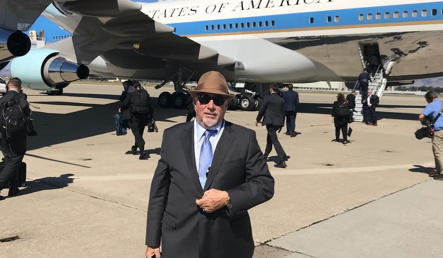 Michael Savage, talk radio icon, rides aboard Air Force One with President Donald Trump. (Image courtesy of Michael Savage)