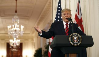 President Donald Trump speaks during a news conference with Australian Prime Minister Scott Morrison in the East Room of the White House, Friday, Sept. 20, 2019, in Washington. (AP Photo/Patrick Semansky)