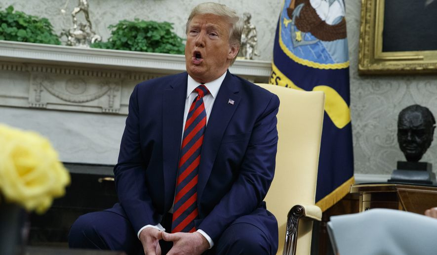 President Donald Trump speaks during a meeting with Australian Prime Minister Scott Morrison in the Oval Office of the White House, Friday, Sept. 20, 2019, Washington. (AP Photo/Evan Vucci)