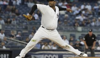 New York Yankees' CC Sabathia delivers a pitch during the first inning of the team's baseball game against the Los Angeles Angels on Wednesday, Sept. 18, 2019, in New York. (AP Photo/Frank Franklin II)