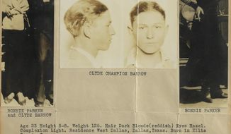In this July 29, 2019, photo provided by RR Auction, a wanted poster of Bonnie Parker and Clyde Barrow are shown. A book of poetry handwritten by Bonnie Parker and a watch belonging to Clyde Barrow are among items from the outlaw Texas couple being offered at auction. (AP Photo/RR Auction, Nikki Brickett)