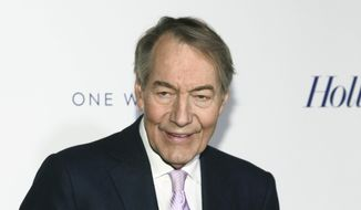"""In this April 13, 2017, file photo, Charlie Rose attends The Hollywood Reporter's 35 Most Powerful People in Media party in New York. The former chief makeup artist at Rose's interview show is suing him and saying the disgraced television journalist ran a """"toxic work environment"""" for women. Gina Riggi said she worked for 22 years for Rose and Bloomberg, the company where his Manhattan studio was located. Rose was fired in 2017 by PBS and CBS News for sexual misconduct. His attorney didn't immediately return messages seeking comment Friday, Sept. 20, 2019.  (Photo by Andy Kropa/Invision/AP, File)"""