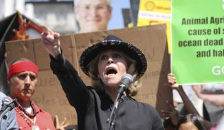 Actress and activist Jane Fonda talks to a crowd of protestors during a global climate rally at Pershing Square in downtown Los Angeles on Friday, Sept. 20, 2019. A wave of climate change protests swept across the globe Friday, with hundreds of thousands of young people sending a message to leaders headed for a U.N. summit: The warming world can't wait for action. (AP Photo/David Swanson)