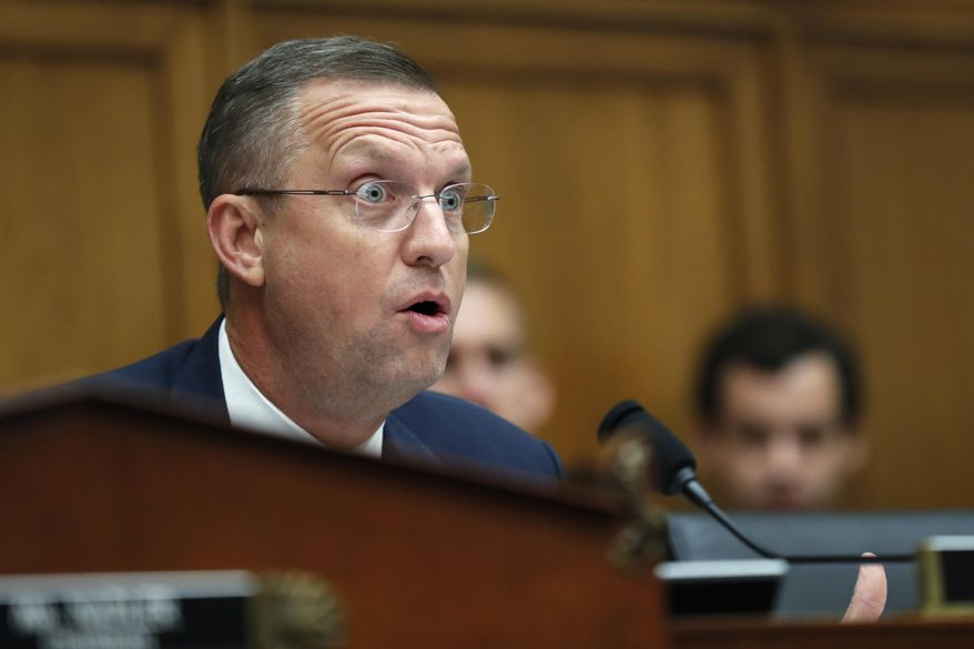 Rep. Doug Collins, R-Ga., the ranking member on the House Judiciary Committee questions Corey Lewandowski, former campaign manager for President Donald Trump, Tuesday, Sept. 17, 2019, on Capitol Hill in Washington. (AP Photo/Jacquelyn Martin)