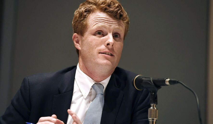 In this Sept. 14, 2019, file photo, U.S. Rep. Joe Kennedy III, speaks on a panel on race and politics at the Massachusetts Democratic Convention in Springfield, Mass. (AP Photo/Jessica Hill, File)