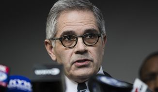 In this March 6, 2019, file photo Philadelphia District Attorney Larry Krasner speaks during a news conference in Philadelphia. (AP Photo/Matt Rourke, File)
