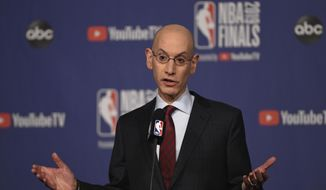 In this May 30, 2019, file photo, NBA Commissioner Adam Silver holds a news conference before Game 1 of basketball's NBA Finals between the Golden State Warriors and the Toronto Raptors in Toronto (Frank Gunn/The Canadian Press via AP, File)  **FILE**