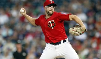 Minnesota Twins pitcher Randy Dobnak throws against the Kansas City Royals in the first inning of a baseball game Friday, Sept. 20, 2019, in Minneapolis. (AP Photo/Jim Mone)