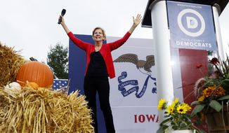 Democratic presidential candidate Sen. Elizabeth Warren speaks at the Polk County Democrats Steak Fry, Saturday, Sept. 21, 2019, in Des Moines, Iowa. (AP Photo/Charlie Neibergall)