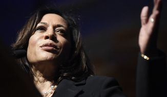 Democratic presidential candidate Kamala Harris, D-Calif., speaks at the Charleston NAACP banquet on Saturday, Sept. 21, 2019, in Charleston, S.C. (AP Photo/Meg Kinnard)