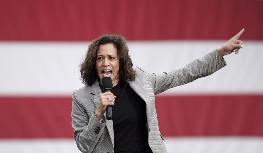 Democratic presidential candidate Sen. Kamala Harris, D-Calif. speaks at the Polk County Democrats Steak Fry, in Des Moines, Iowa, Saturday, Sept. 21, 2019. (AP Photo/Nati Harnik) ** FILE **