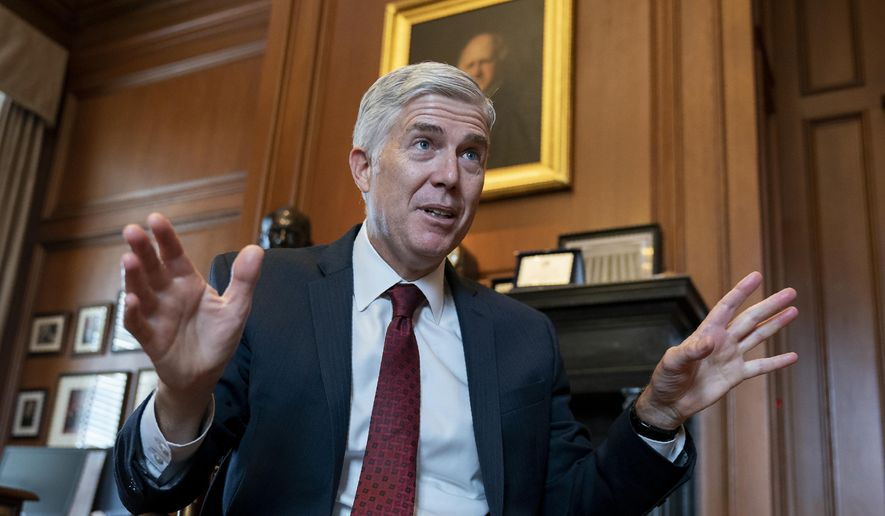 In this Sept. 4, 2019, file photo, Justice Neil Gorsuch speaks during an interview in his chambers at the Supreme Court in Washington. (AP Photo/J. Scott Applewhite, File)