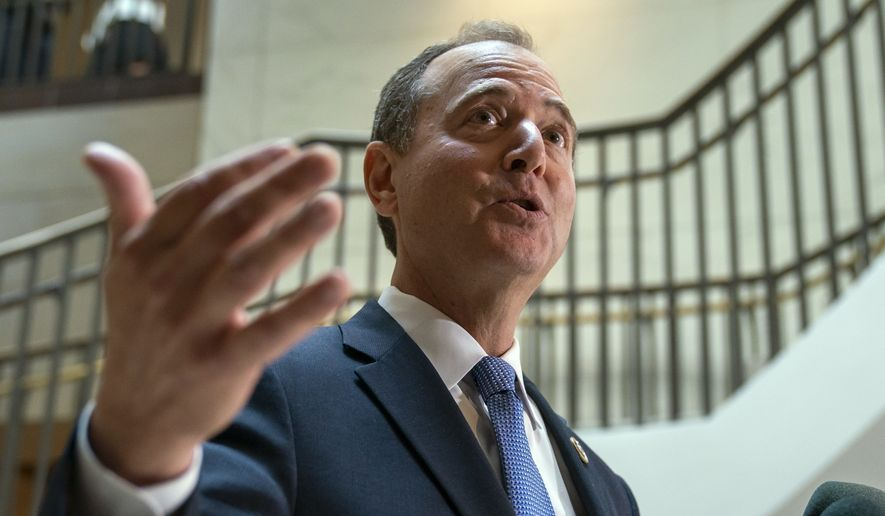 In a Thursday, Sept. 19, 2019 photo, House Intelligence Committee Chairman Adam Schiff, D-Calif., speaks to reporters after the panel met behind closed doors with national intelligence inspector general Michael Atkinson about a whistleblower complaint, at the Capitol in Washington. (AP Photo/J. Scott Applewhite) **FILE**