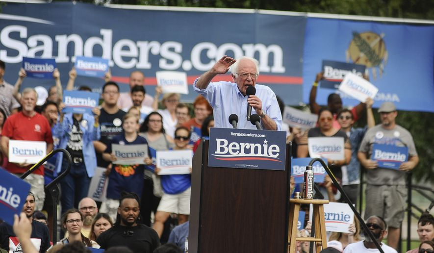 Democratic presidential candidate Sen. Bernie Sanders talks to a crowd during a rally at Reaves Park in Norman, Okla., Sunday, Sept. 22, 2019. (Paxson Haws/The Oklahoman via AP)