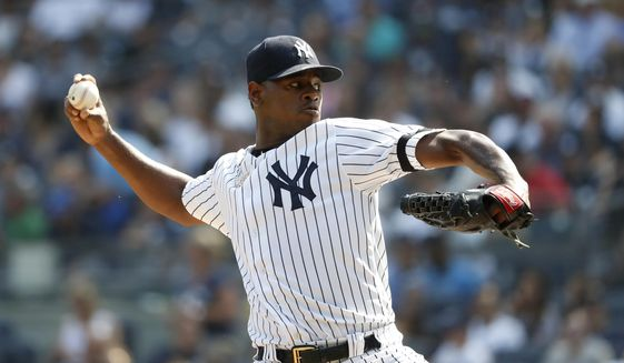 New York Yankees starting pitcher Luis Severino pitches against the Toronto Blue Jays during the first inning of a baseball game, Sunday, Sept. 22, 2019, in New York. (AP Photo/Michael Owens)