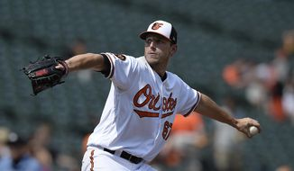 Baltimore Orioles pitcher John Means throws against the Seattle Mariners in the first inning of a baseball game, Sunday, Sept. 22, 2019, in Baltimore. (AP Photo/Gail Burton)