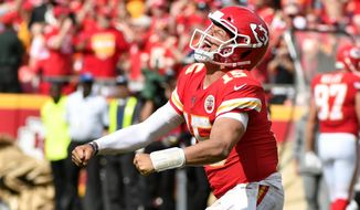 Kansas City Chiefs quarterback Patrick Mahomes (15) celebrates after completing a pass for a first down during the second half of an NFL football game against the Baltimore Ravens in Kansas City, Mo., Sunday, Sept. 22, 2019. (AP Photo/Ed Zurga)